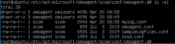ls -al output list of the omsagent.d directory and oms config specific files for various log files