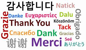 'Thanks' written in collage form for many languages
