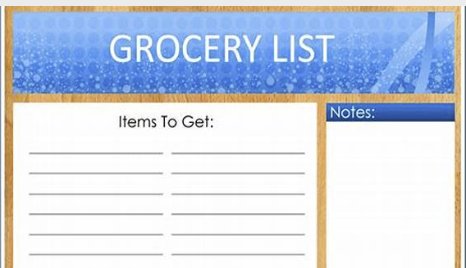 Grocery List, items to get and notes
