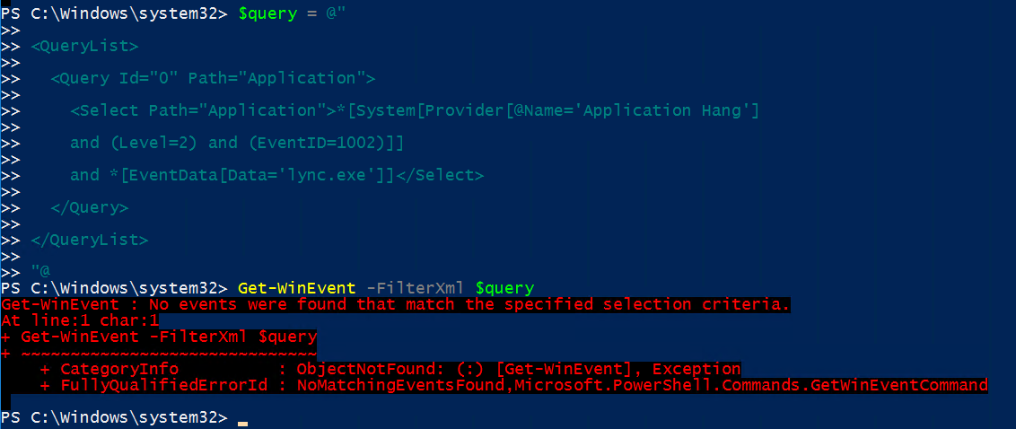 Use Get-WinEvent to use XML and filters from event viewer